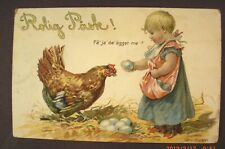 Swedish Easter Postcard - Child Gathering Eggs in an Apron With Hen & Nest