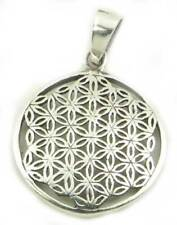 Blume des Lebens Anhänger Silber 925, D 18mm, Amulett Blume des Lebens