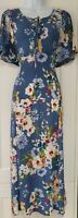 Womens MONSOON Blue Floral Lace Up Flutter Sleeves Midi Fit And Flare Dress 8.