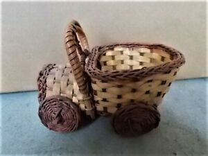 Vintage Woven Brown Wicker Rattan Car Automobile Handmade Basket Planter