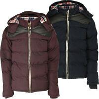 New Soul Star Men's Padded Winter Jacket Burgundy & Navy Blue Warm Hooded Coat