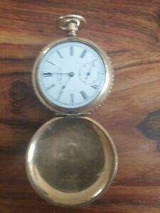 Waltham Hunter Case 14K Yellow Gold Size 6s/42mm Circa 1896 14K Pocket Watch