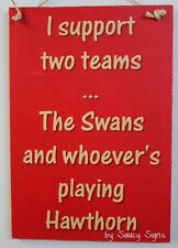 Swans Sydney v Hawthorn Aussie Rules Sign - Bar Shed Man Cave Wooden Rustic BBQ