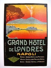 "Gorgeous ""Grand Hotel de Londres"" Napoli Luggage Label w Stunning Sunset Scene *"
