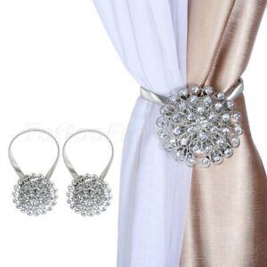 2x Magnetic Curtain Ropes Tiebacks Blossom Diamond Clips Drapery Holdbacks Decor