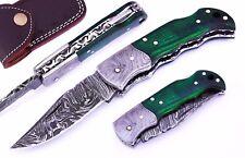 Handmade Green Wood Handle 6.5'' Damascus Steel Folding Pocket Knife /Case