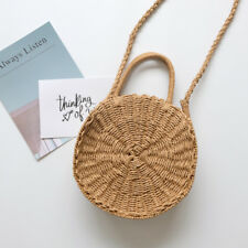 Woven Straw Round Handbag Retro Rattan Women Shoulder Bag Summer Beach Crossbody