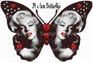 24 Marilyn Monroe Vintage Edible Butterflies Cupcake Toppers Cake Decorations