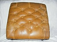 LEATHER MUSTARD OR TAN CHESTERFIELD STOOL FOOTSTOOL BUTTONED CABRIOLE LEGS