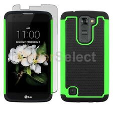 Hybrid Rubber Case+LCD Screen Protector for Android Phone LG K7/Tribute 5 Green