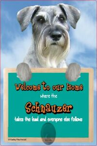 Schnauzer dog lead holder SCHNAUZERS dog sign Welcome to our Home sign dogs sign