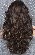 Long Curly Human Hair Blend Full Wig Heat OK Brown Blonde mix 4-27 SOW