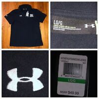 NWT Under Armour Women's Black S/S Loose Fit Heat Gear Golf Polo Shirt Sz Large