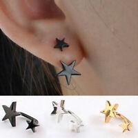 1 Pair Earrings Stainless Steel Bar Barbell Screw Double Ear Stud Ear Stars G4N1