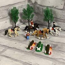 Safari Ltd TOOBS Pony Derby Miniature Figure Set Horse Riders Jumps Trees
