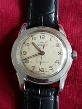 Gents Vintage Stainless Steel Military Style OLMA 21 Jewel Automatic Wrist Watch