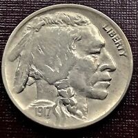 1917 D Buffalo Nickel 5c Higher Grade VF Rare Strong Details  #17960