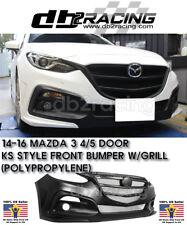 KS-Style Front Bumper + Black Mesh Grille Fits 14-16 Mazda 3 4/5dr JDM