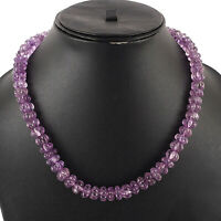 10mm Natural Amethyst Melon Carved Beads Necklace - 925 Silver Clasp