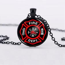 Fireman logo Necklace Glass Dome Chain Pendant Necklace wholesale