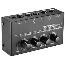 Neewer Compact 4-Channel Stereo Headphone Amplifier with DC 12V Power Adapter