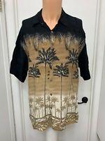 Campia Moda mens shirt short sleeve rayon palm tree black gold hawaiian l large