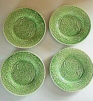Vintage BORDALLO PINHEIRO EMBOSSED GREEN VINE SALAD PLATES -4