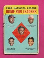 1963 TOPPS # 3 AARON / BANKS / MAYS / ROBINSON LEADERS  GOOD CARD (INV# C3146)