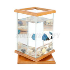 Rotatable Mini Aquarium Led Light Clear Glass Fish Tank Office Desktop Decor S