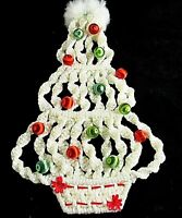 """Macrame Wall Christmas Tree with Satin Ornaments 19"""" White Hanging Vintage"""