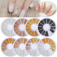 3D Nail Steel Beads Mix Size  Rose Gold Silver Black Decoration Wheel