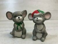 Vintage Set of Small Christmas Mice Mouse BIsque Ceramic Salt & Pepper Shakers