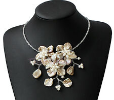 Natural Sea Shell  pearl  flower necklace,Wedding Mother's Day gift