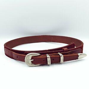 "Rodney Clark Womens Size 28"" Vintage Marooon Leather Suede Waist Belt 66cm-76cm"