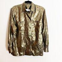 Vintage Escada Women's Button Down Silk Gold Metallic Blouse Never Worn Size 38