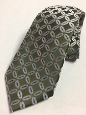 JOSEPH LYMAN FOR BLOOMINGDALE -GREEN CONNECTED FLOWER- EXQUISITE SILK TIE NWT