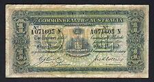 Australia R-21. (1918) Cerutty/Collins - One Pound.. A Prefix, N Suffix..  aF-F