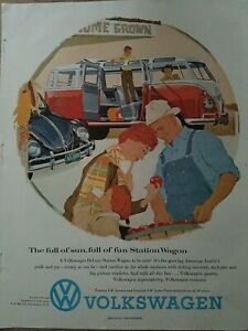 1958 red and white Volkswagen VW station wagon beetle bug car ad