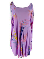Free People Women's Purple Floral Clear Skies Cold Shoulder Tunic Size Small