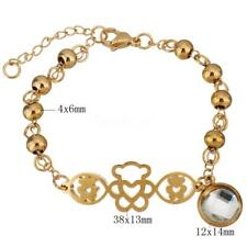 Stainless Steel Jewelry Bracelet Crystal Bear Charm Ball Chain Jewelry Gift New