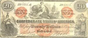 Confederate States $20 Dollars Counterfeit CR-CT19/137 Currency Banknote 1861
