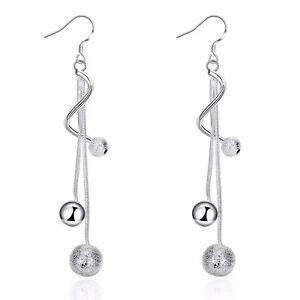 Silver Plated 925 Bead Ball Twist Swirl Tassel Double Drop Snake Dangle Earrings