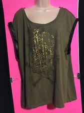 NEW Women Plus Bongo 3X Green Leather Trim Gold Skull Tee Shirt Short Sleeve Top