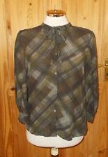 NICOLE FARHI grey brown green PURE SILK chiffon 3/4sleeve blouse shirt top 12 38