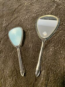 Vintage Lucite Acrylic Hand Mirror and Hair Brush