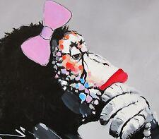 "CANVAS girl pepe street Art Print DJ MONKEY chimp PAINTING 36"" unframed"