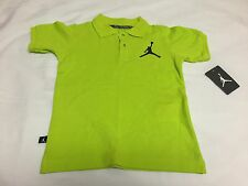 "NWT NIKE ""AIR JORDAN"" VENOM GREEN BLACK POLO SHIRT YOUTH SIZE 5 (4-5) AGE"
