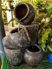 Outdoor Garden Patio Water Feature Cascading Jug Fountain Atlantis Black White