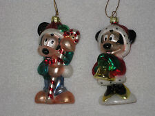 Disneys Mickey Mouse & Minnie Mouse Shiny Statue Christmas Ornaments Candy Cane