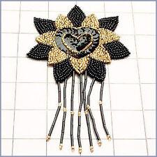 BLACK GOLD FLOWER SEQUIN BEADED EPAULET APPLIQUE 2291-M